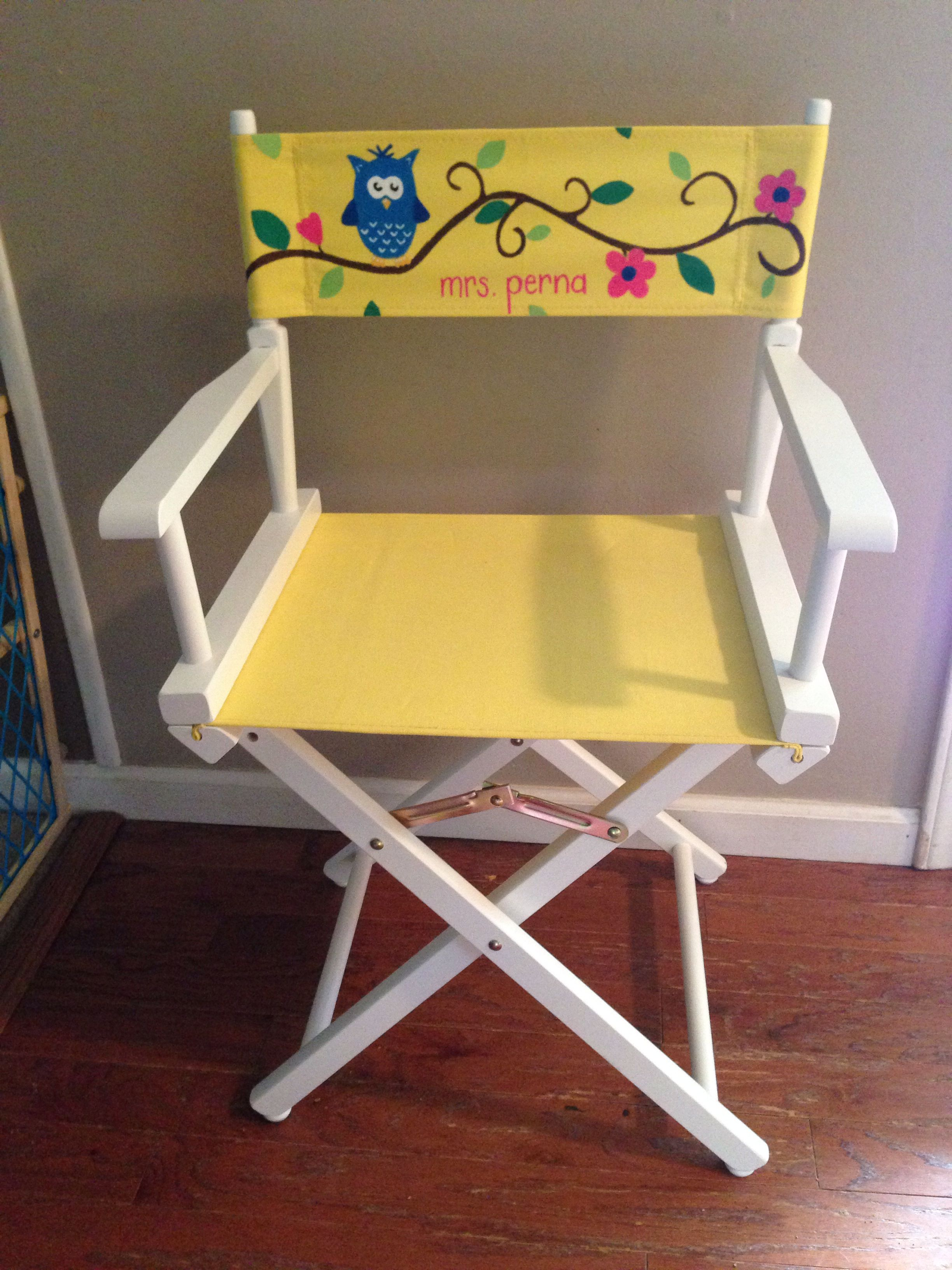 Owl Directors Chair Teacher Appreciation Week Gift Hand Painted
