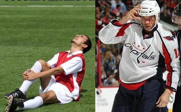 Soccer Injuries Vs Hockey Injuries Soccer Funny Hockey Memes Funny Hockey Memes