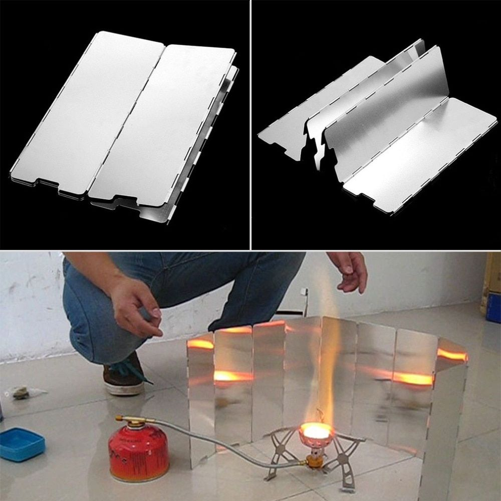 Gas Cooker Portable Easy Install Foldable Stove Windshield Aluminum Alloy