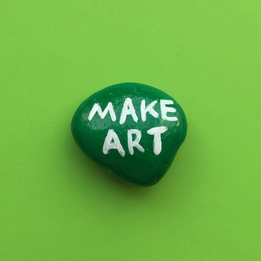 "Make Art  MAKE ART  Encouragement to give or keep.  ••• Green with white lettering 1-1/8"" x 1-3/8"" by Martha Rich especially for Shrink Ray"