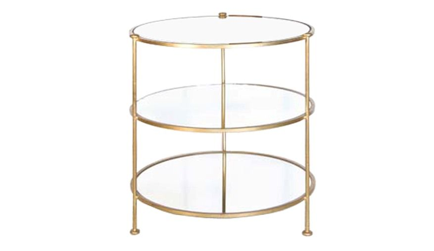 202002147 Fr 3404 019 Gl 2pcs 70x63cm 3 Tier Gold Leafed Table With Plain Mirrored Shelves Side Table Round Side Table Table