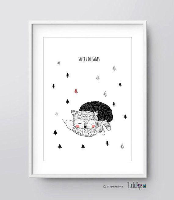Printable Nursery Art, Fox Illustration, Nursery Art, Kids Room Art ...