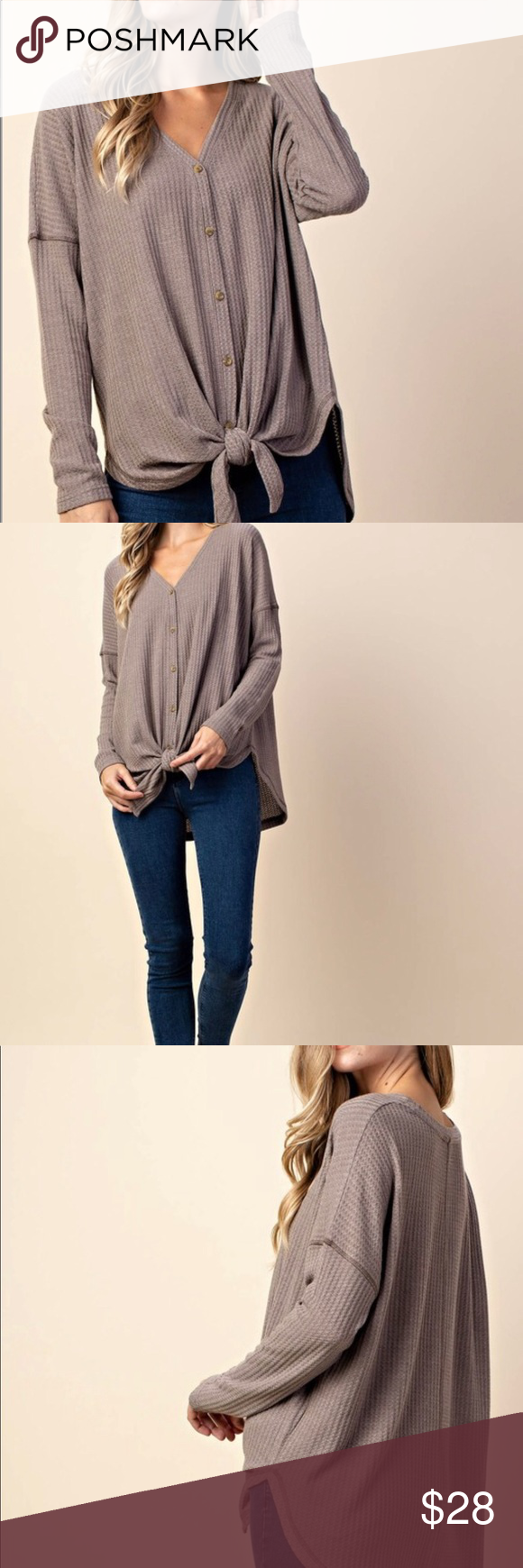 f3064ba7368 Waffle knit button up NWT! Oversized fit. Pair with a criss cross or lace  bralette (check out my listings I have some great options) Tops Button Down  Shirts