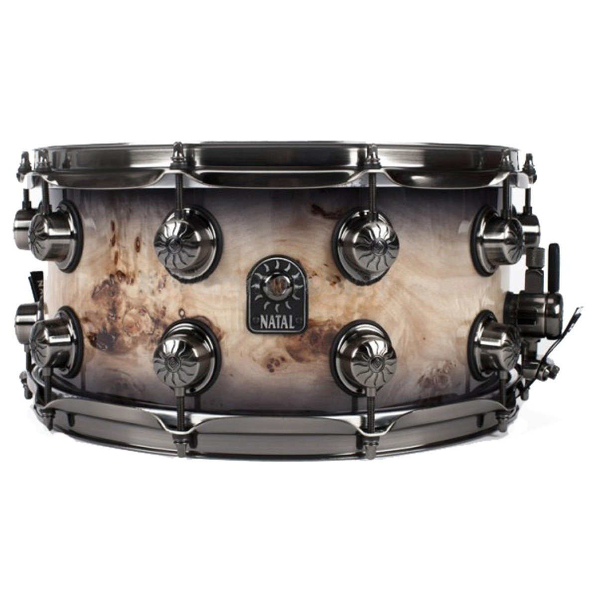 Natal Maple 13x7 Mappa Burl Snare Black Smoked Gloss Snare Drum Snare Drums