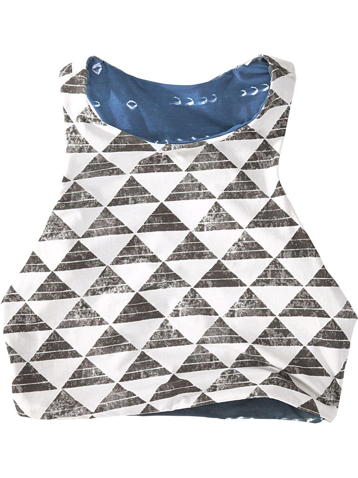 cf60bb0f46844 Encinitas Reversible Bikini Top - Shibori Triangle. Title Nine. T9. IX.  High neckline Bikini. Reversible print. Racerback