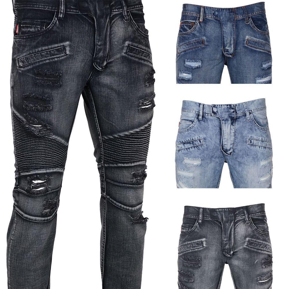 Details about KAYDEN.K Men's Slim Fit Destroyed Biker Denim Jeans ...