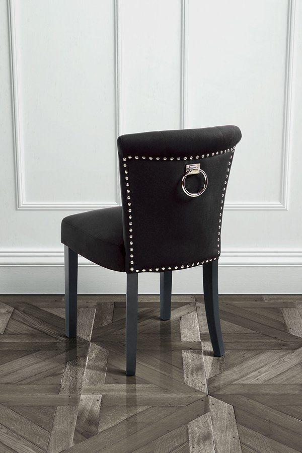 Positano Dining Chair With Back Ring Black Velvet Stuhle