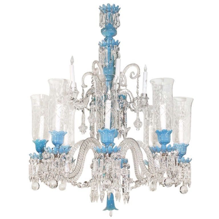 Baccarat Opaline Glass and Crystal Twelve-Light Chandelier - Baccarat Opaline Glass And Crystal Twelve-Light Chandelier