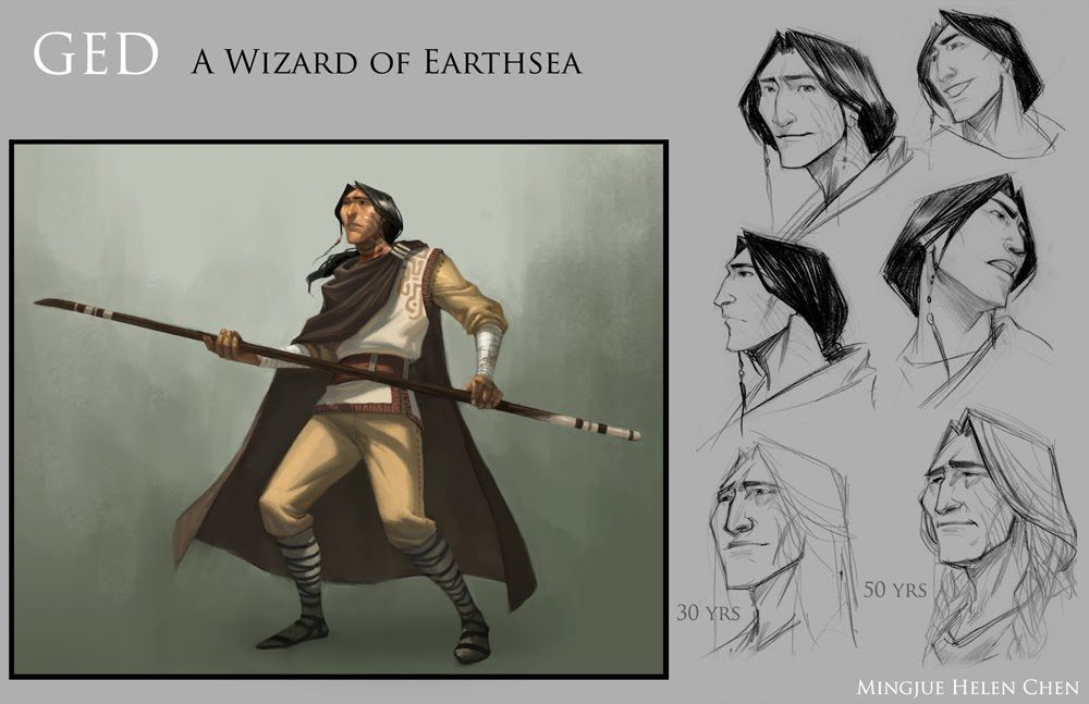 Ged, Wizard of Earthsea by mingjue helen chen. (Ged /ˈɡɛd/, is the true name of a fictional character in Ursula K. Le Guin's Earthsea realm. He is introduced in A Wizard of Earthsea, and plays both main and supporting roles in the subsequent Earthsea novels. In most of the Earthsea books he goes by the Hardic name Sparrowhawk. -Wikipedia)