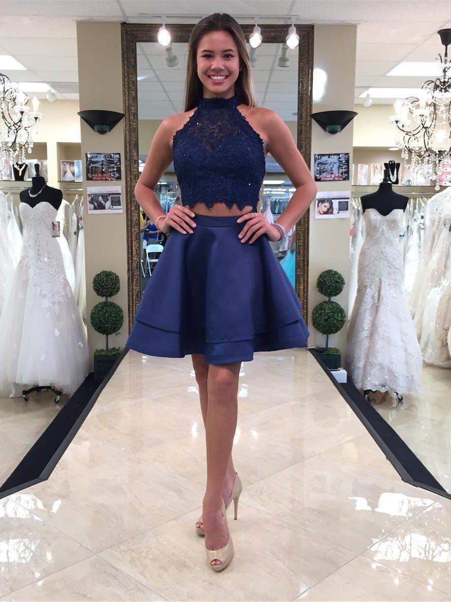 Aline halter mini satin short royal blue homecoming dresses with