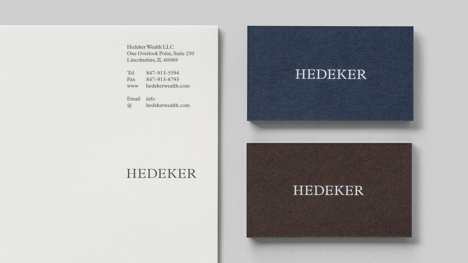 New brand identity for hedeker by socio design bpo business logo headed paper and business cards for illinois based hedeker wealth law by socio design colourmoves