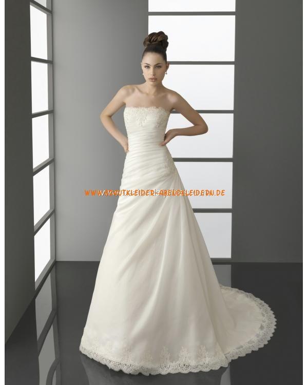 Unique schlichte Brautkleider A-Linie mit kurze Schleppe online ...