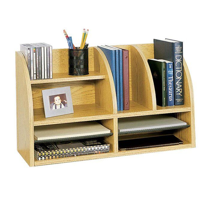 110 Wood Desktop Organizer 8 Adjustable Compartments