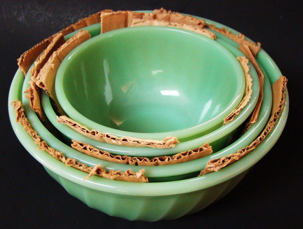 Vintage Fire King Jade-ite Swirl Mixing Bowl Set In Box ...