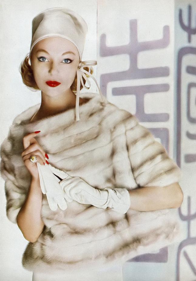 1958 Ivy Nicholson in lavender-beige EMBA mink over-blouse jacket by ...