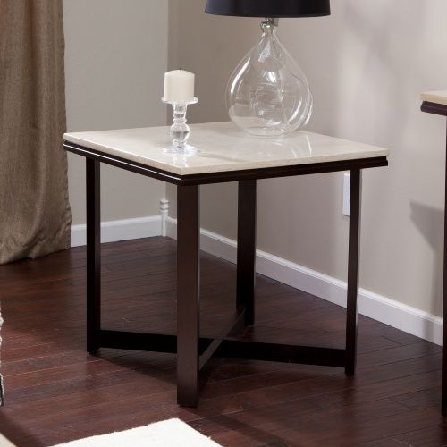Avorio Faux Travertine Square End Table End Tables At Hayneedle