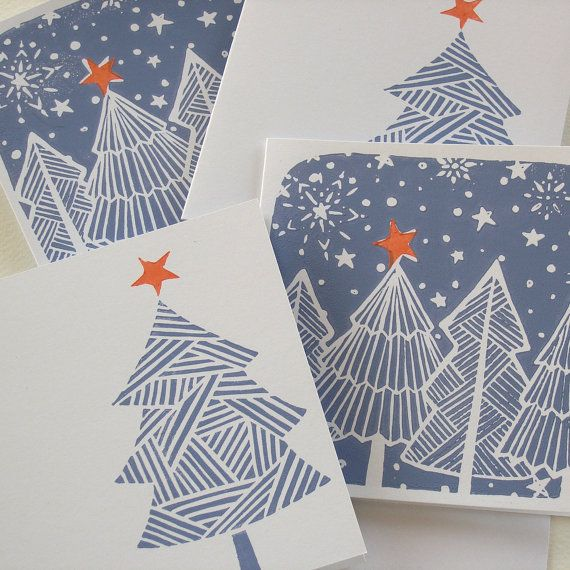 christmas tree hand printed cards pack of 4 o. Black Bedroom Furniture Sets. Home Design Ideas