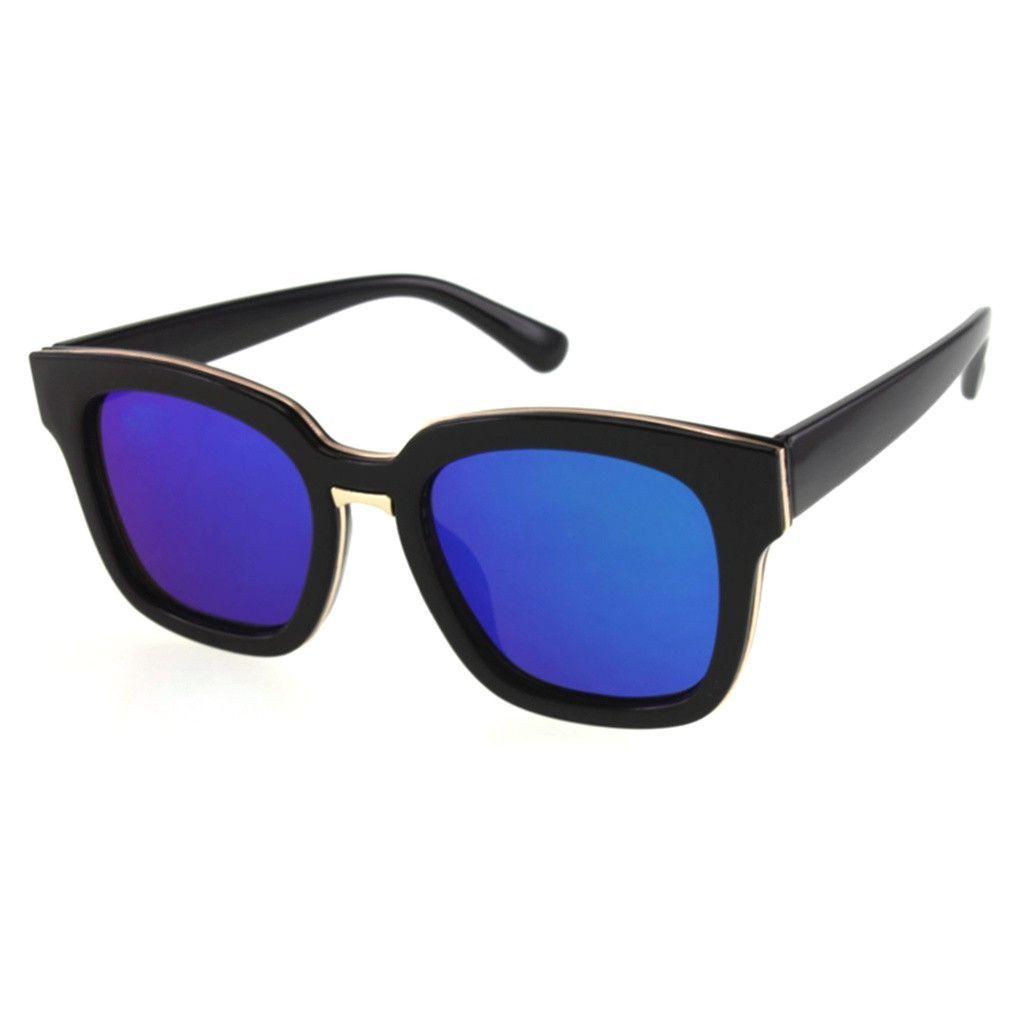 Bold Square Sunglasses with Color Mirror Lenses