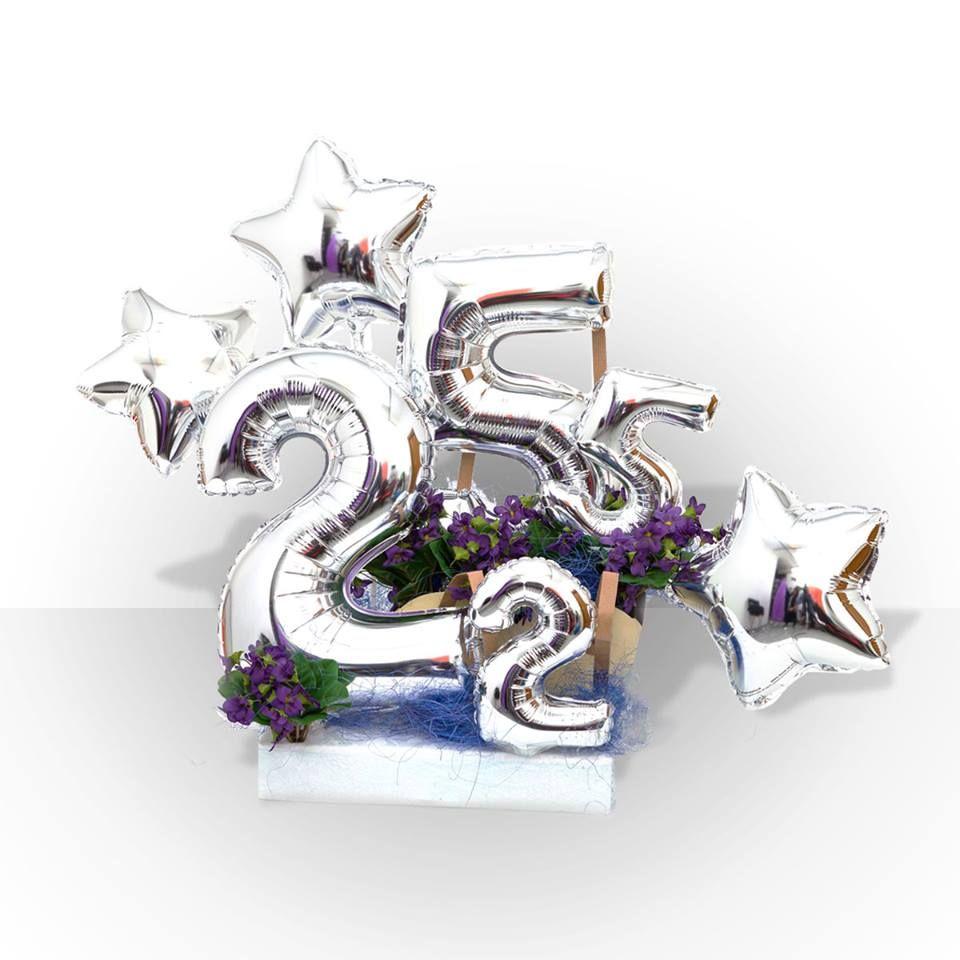 Per I 25 Anni Di Matrimonio Il Colore E Il Silver Nozze D Argento Mylar Palloncino Composizione Pall Nozze D Argento Anniversario Anniversario Di Matrimonio