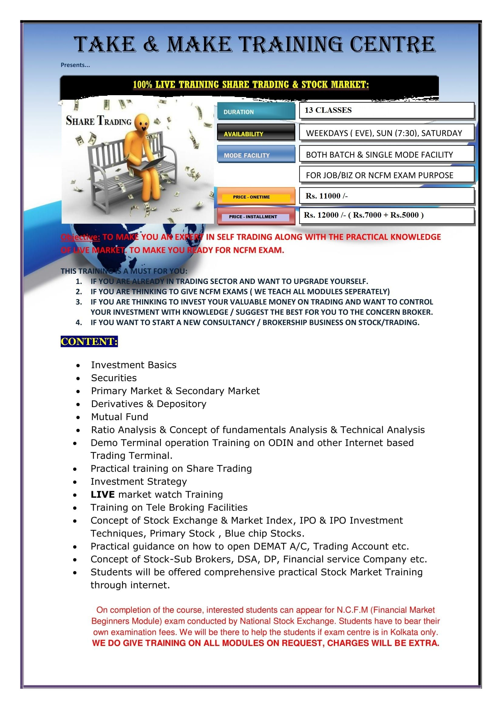 Prospectus Of Share Trading Training By Tnm Training Centre Training Center Live Training Train