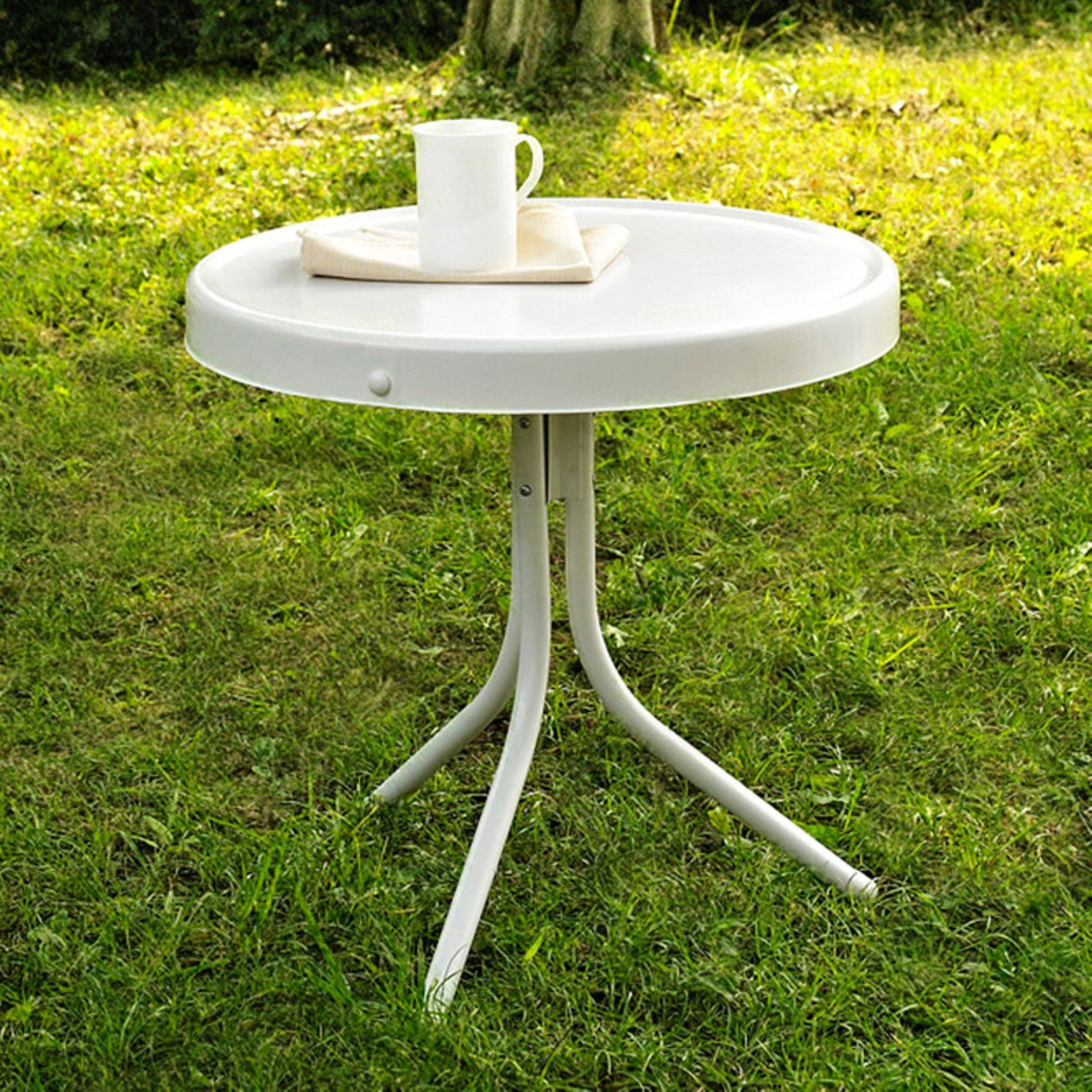 Outdoor Crosley Griffith Metal 20 In Side Patio Table White