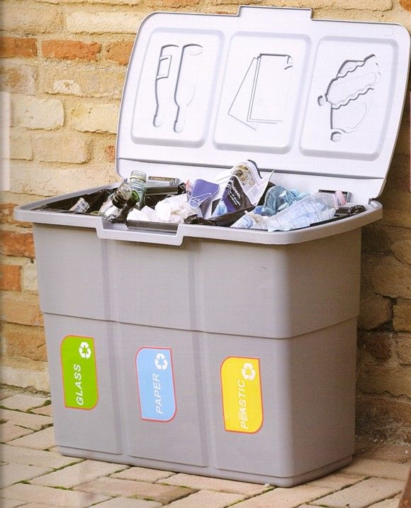 A closer view of the outdoor 75 litre trio home recycling for Recycling organization ideas