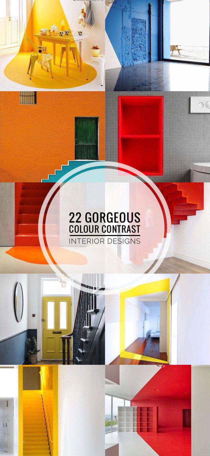 22 Gorgeous Colour Contrast Interior Designs From Drab To Fab Contrast Interior Design Wellness Design Contrasting Colors