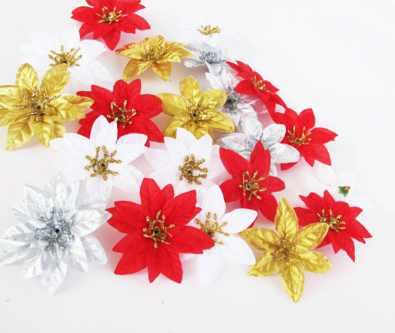 Mini Poinsettias 36 Artificial Mini Flowers Red White Gold Winter Flowers Poinsettia Silver Flowers