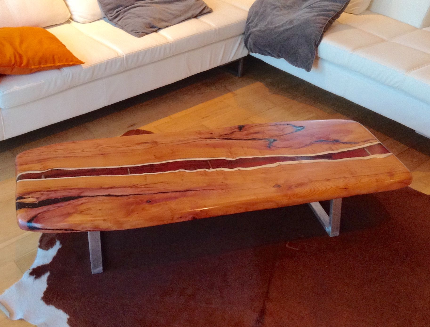 Live Edge Yew, Coffee Table With A River Of Dark Amber Resin Following The  Natural