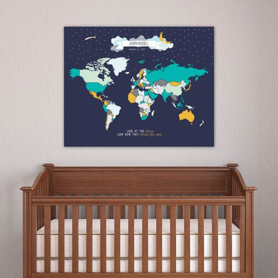 Modern pastel nursery wall art moon star travel map mark the modern pastel nursery wall art moon star travel map mark the places you interactive world gumiabroncs Images