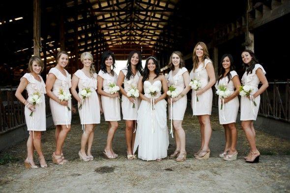 Farm Wedding Bridesmaids - I like the colours.