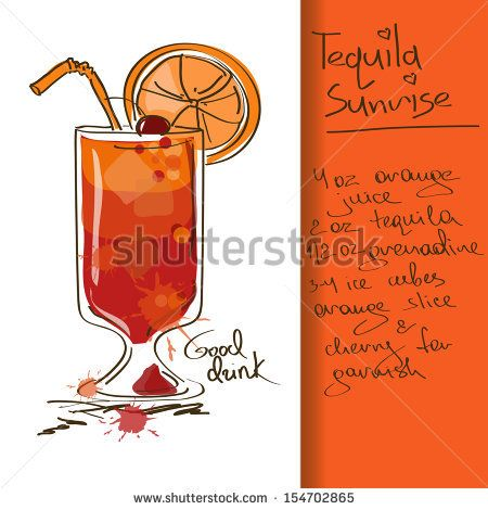 illustration with hand drawn tequila sunrise cocktail receipts rh pinterest com Ocean Clip Art Cartoon Sunrise Clip Art