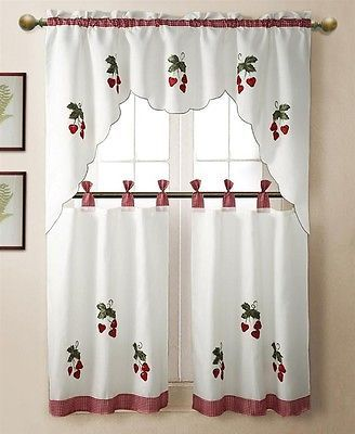 3 Pc Strawberry Kitchen Window Embroidered Curtain Set W Valence 2 Tiers Shtory
