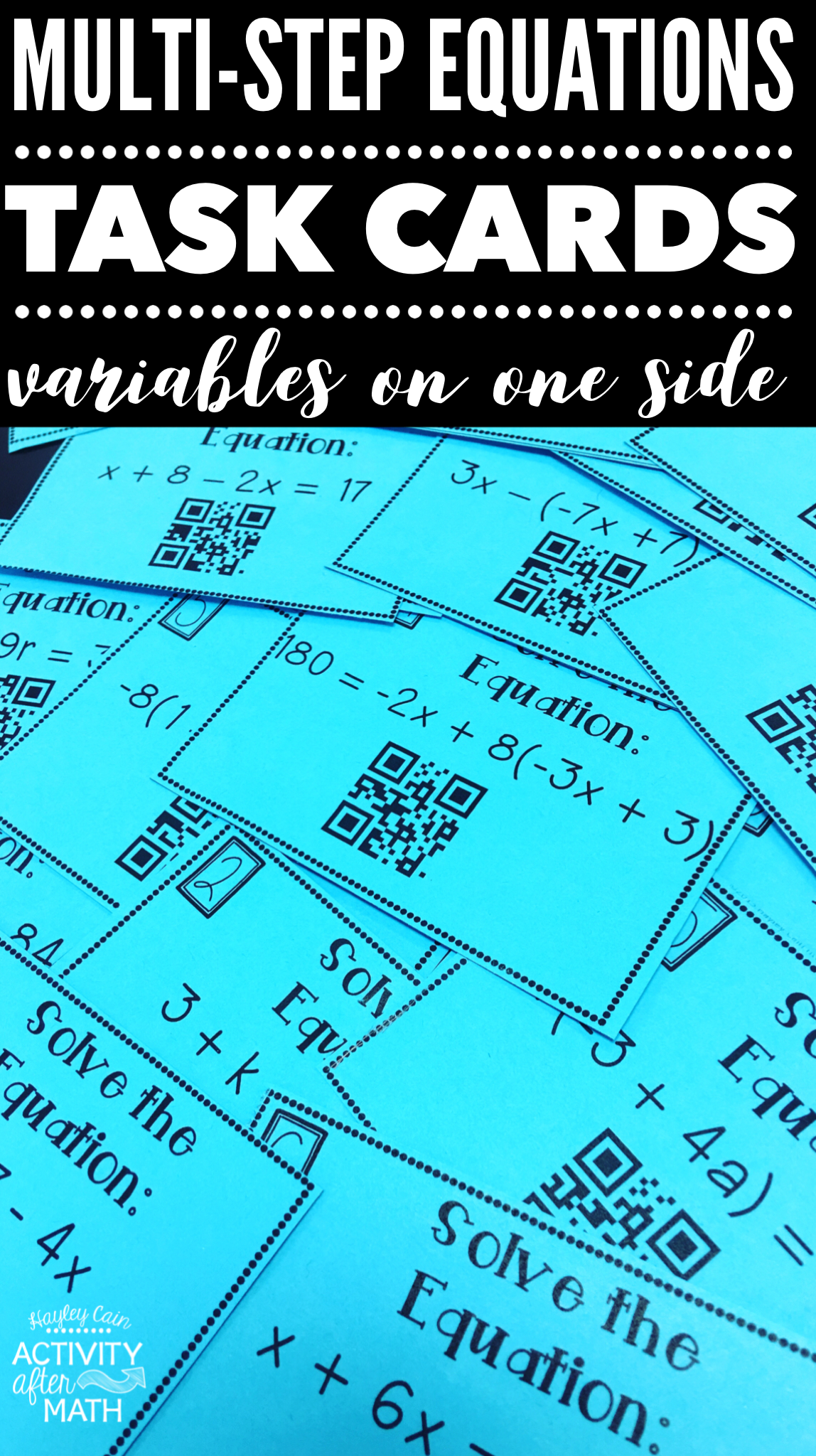 Multi Step Equations Variables On One Side Task Cards With