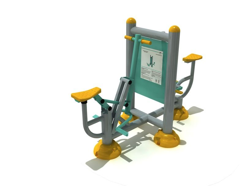 Toledo 021 bicycle and jockey fitness machine with 2 advertising boards  This equipment is a combination of bicycle and jockey with two advertising boards. It is multi task equipment made from durable metallic tube profile frame with powder coatings. It is 95 cm wide and 135 cm high. Its ergonomic design enables two users to exercise simultaneously. The aim of this product is to develop arm, back leg and abdominal muscles by providing oxygen for muscles upon routine usage.