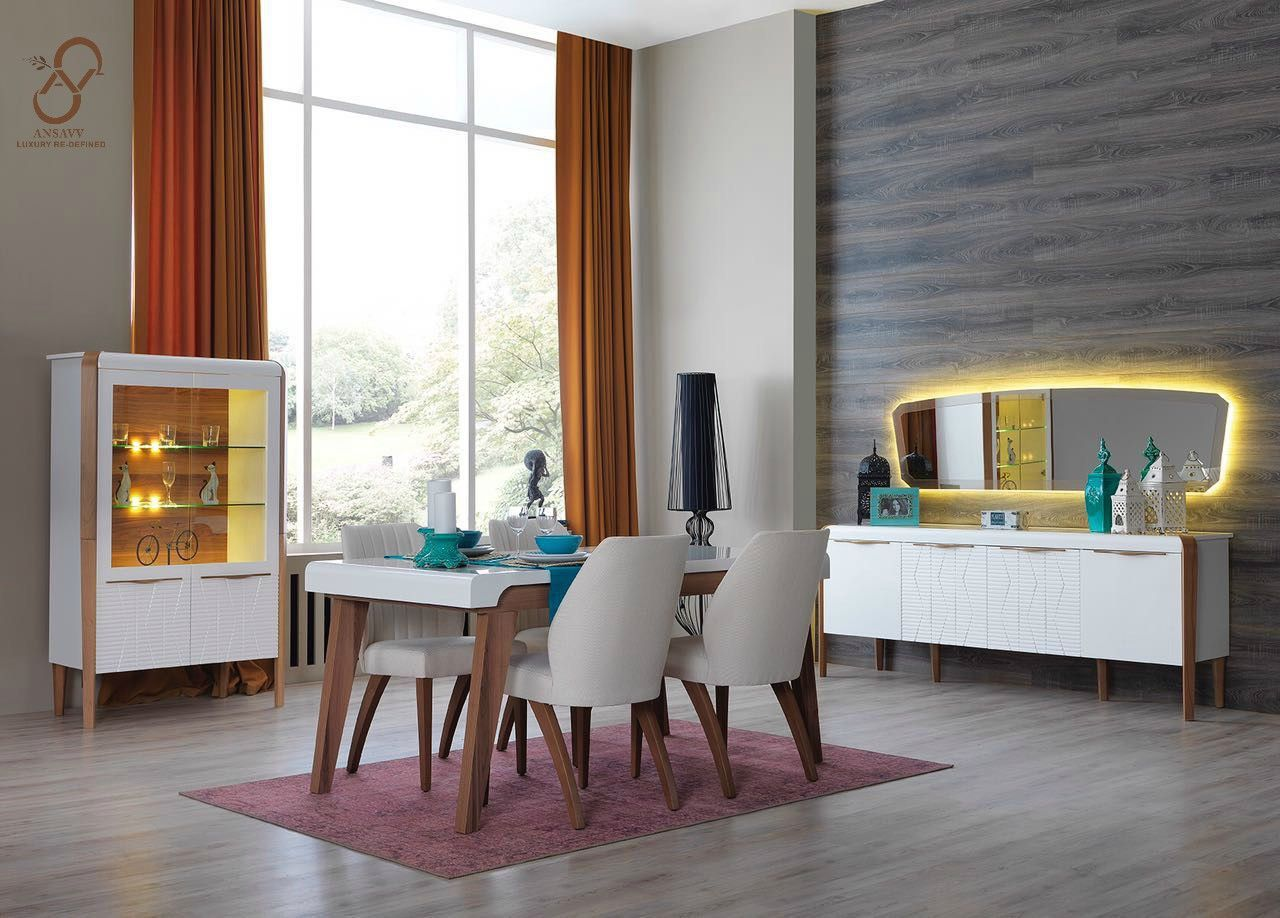 Contemporary Urban Living With Sleek Dining Table In Wood And Straight Line Furniture Apt For Small Es Coordinated Console A Mirror Gl