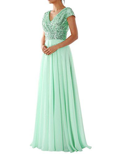 OYISHA Womens Cap Sleeve Sequin Bridesmaid Dress V-neck Prom Evening Gowns  BD106 at Amazon Women's Clothing store: