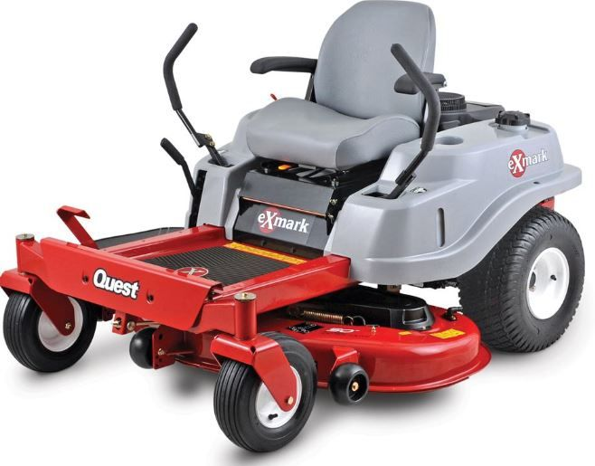"The Exmark Quest E-Series offers a Kawasaki® powered engine, backed by a three-year consumer warranty. It delivers pro-like productivity with zero-turn precision, mowing up to 2.8 acres per hour at speeds up to 7 mph. 50"" stamped deck, premium, two-toned, ergonomically designed seat,  cushioned control levers and vibration-reducing floor mat."