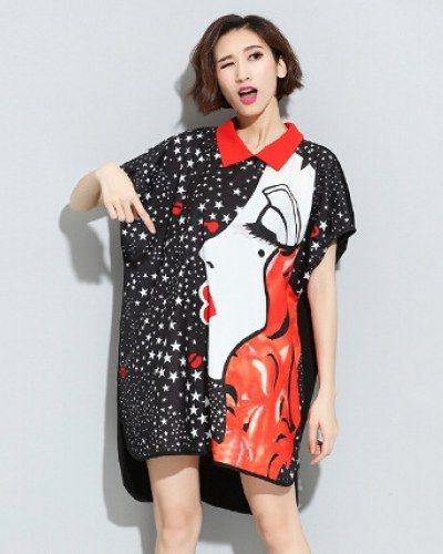 Star girl t shirt dress for women black long t shirts peter pan collar