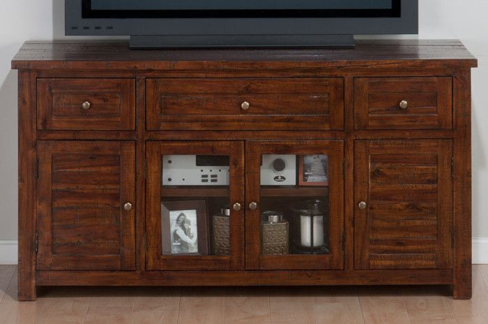Buy Jofran Urban Lodge Brown 60 Tv Stand With Glass Doors At Harvey