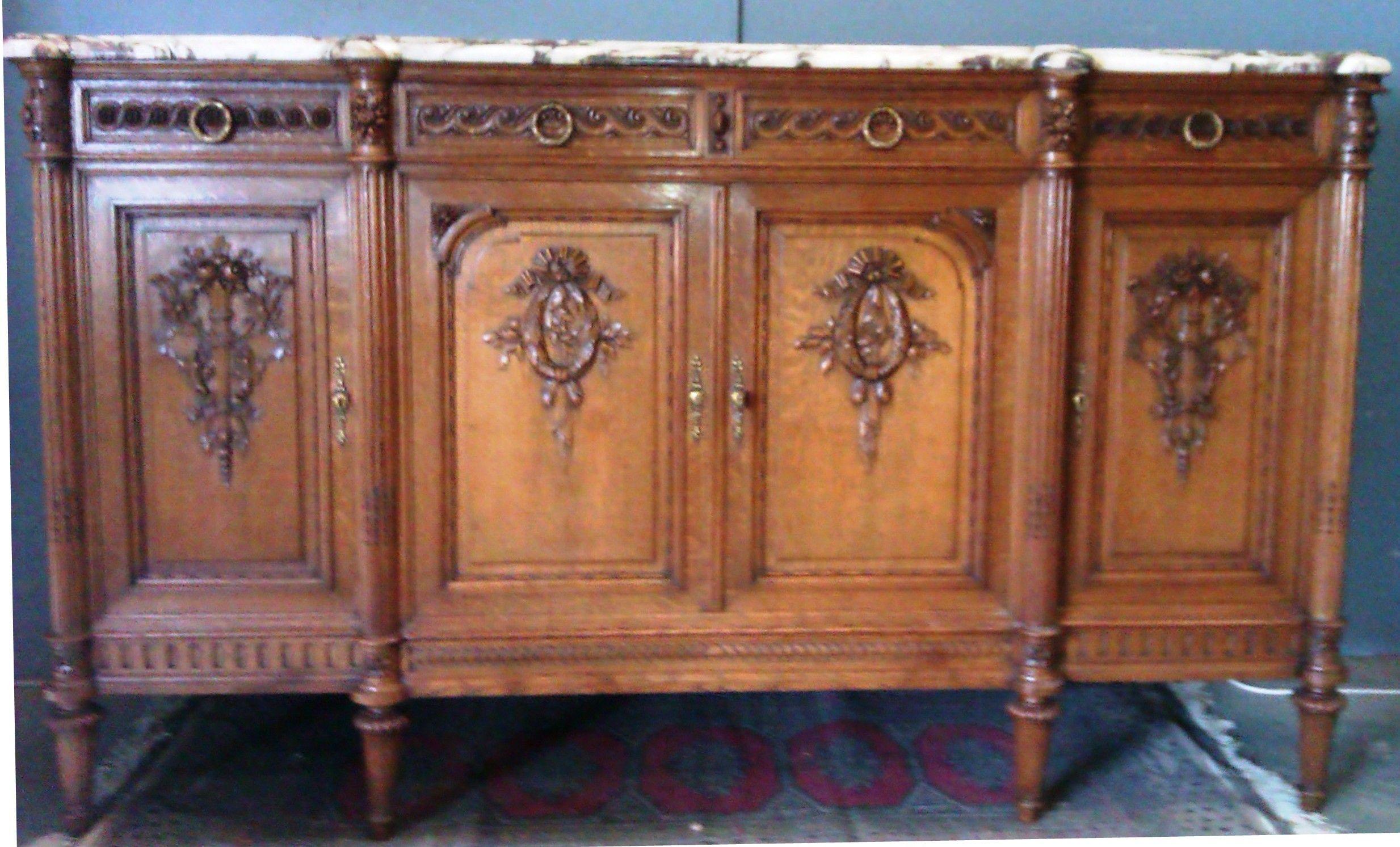 Buffet 4 Tiroirs 4 Portes Dessus Marbre Breche Violette Louis Xvi Furniture Decor Home Decor