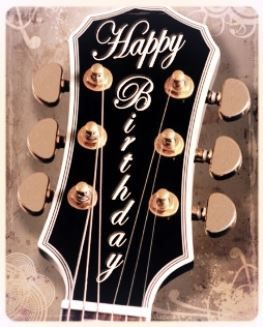 Happy Birthday Guitar Headstock With Beautiful Trim And Tuners