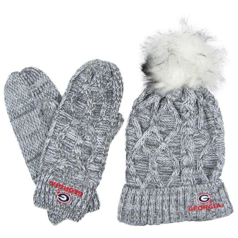 29af9ad5e72 Women s ZooZatz Gray Georgia Bulldogs Marled Pom Cuffed Knit Hat   Mittens  Set