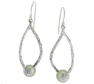 Or Paz Sterling Cultured Pearl Twist Design Earrings