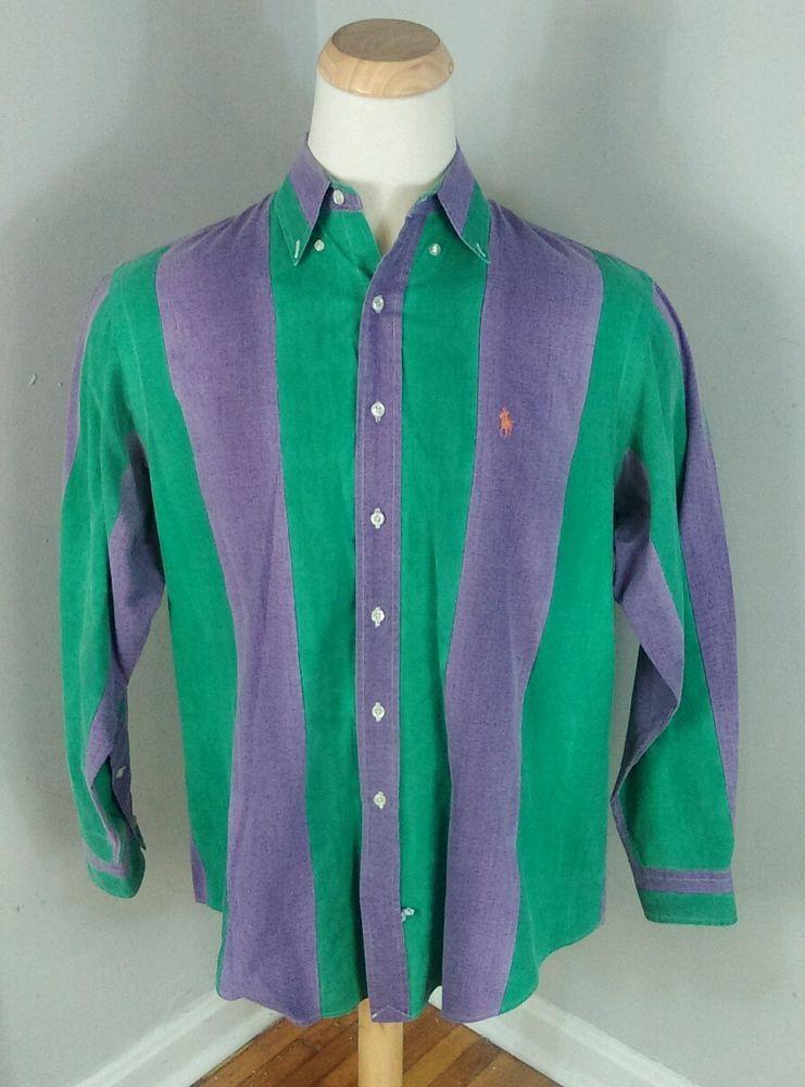 73ce4a6038 Vtg 80s 90s Bold Purple Green Stripe Ralph Lauren Dress Shirt L Surf Ski  Polo   Clothing, Shoes & Accessories, Vintage, Men's Vintage Clothing    eBay!