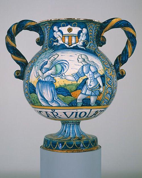 Apothecary Vase Vaso Da Farmacia Italian Castelli Majolica Pottery Italian Pottery Porcelain Painting