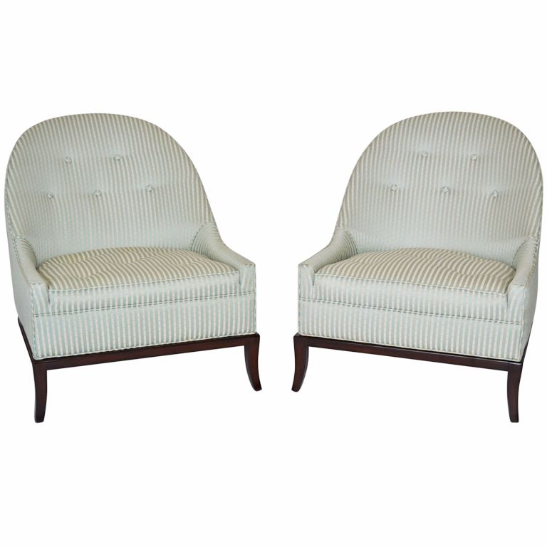 Astonishing Pair Of Rare Slipper Chairs By T H Robsjohn Gibbings Theyellowbook Wood Chair Design Ideas Theyellowbookinfo