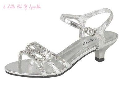 NEW Girls Sparkly Silver Gold Sandals Shoes Wedge Heels Party Size ...