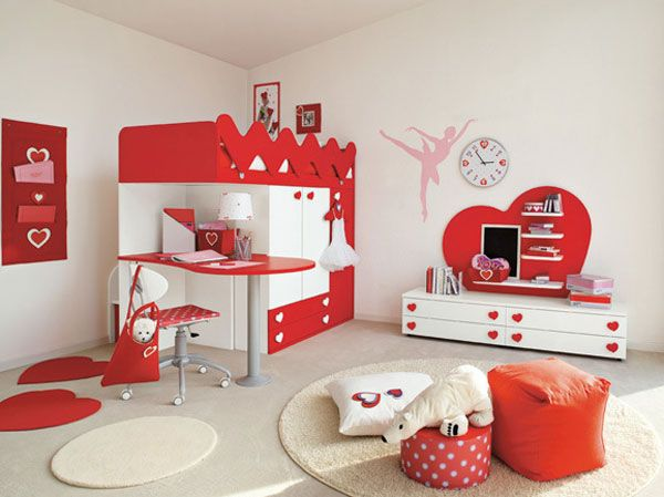 habitacion infantil niña en rojo | Ideas para el hogar | Pinterest ...