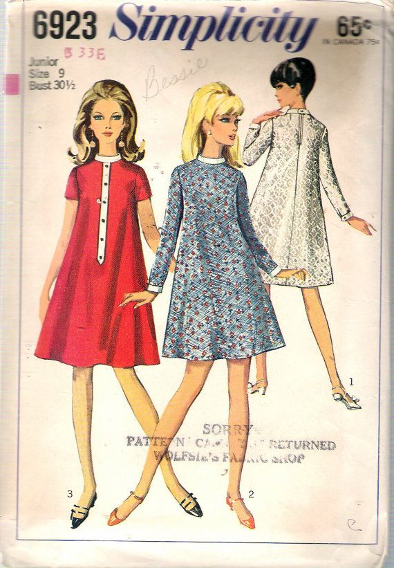 Vintage 1966 Simplicity 6923 One Piece Tent Dress in Two Lengths Sewing Pattern Size 9 Bust 30 1/2""